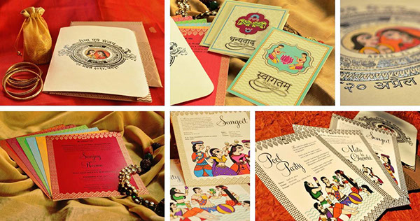 Madhubani Art Inspired Wedding Invite-1