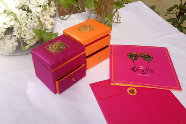 Mehendi inspired wedding invite gift boxes