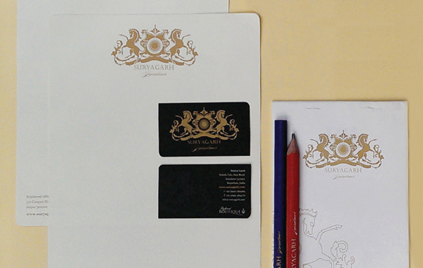 Suryagarh letterhead and business cards