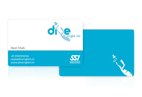 Dive Right In! business card