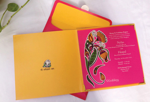 Mehendi inspired wedding invite cards-3