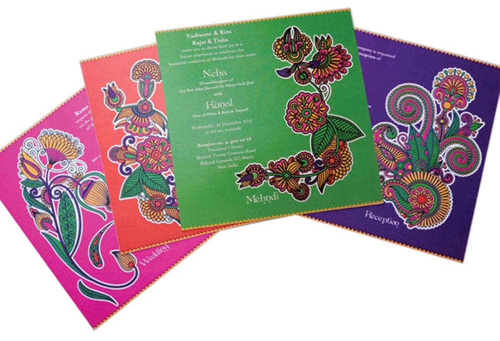 Mehendi inspired wedding invite cards-4