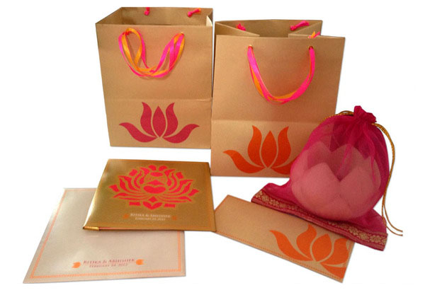 Lotus Wedding Invite card & bag